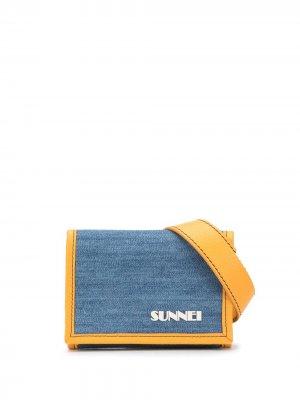 Бумажник с логотипом Sunnei. Цвет: синий