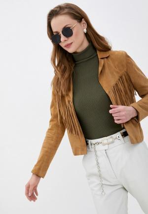 Куртка кожаная Oakwood JANIS. Цвет: коричневый
