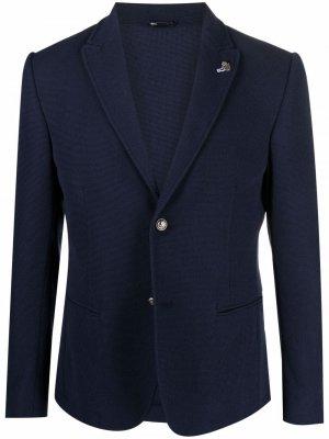 Однобортный пиджак строгого кроя Daniele Alessandrini. Цвет: синий
