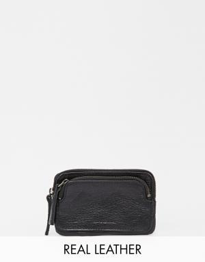 Кожаный кошелек с двойной молнией Aims Royal RepubliQ. Цвет: черный