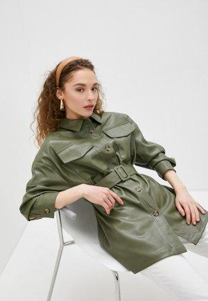 Куртка кожаная Sela. Цвет: зеленый