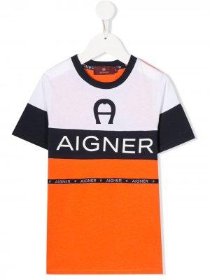 Футболка в стиле колор-блок с логотипом Aigner Kids. Цвет: оранжевый