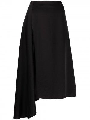 Юбка асимметричного кроя с драпировкой Filippa K. Цвет: черный