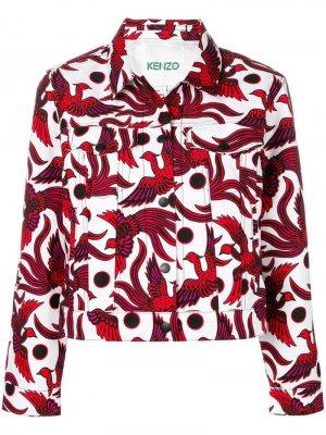 Джинсовая куртка с принтом Kenzo. Цвет: белый