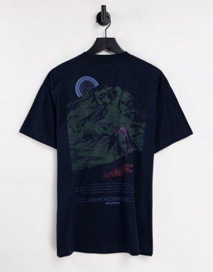 Темно-синяя футболка с принтом горы на спине -Темно-синий Carhartt WIP