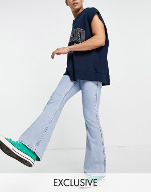 Светло-голубые расклешенные джинсы в стиле 70-х Inspired-Голубой Reclaimed Vintage