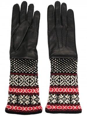 Перчатки с орнаментом Yohji Yamamoto. Цвет: черный