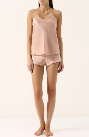 Однотонная шелковая пижама Olivia Von Halle. Цвет: бежевый