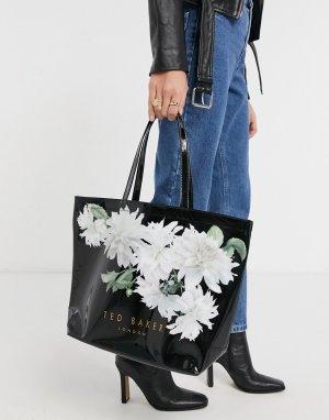 Большая лакированная сумка черного цвета с цветочным принтом lexicon-Черный Ted Baker