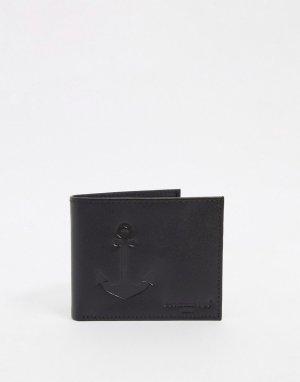 Кожаный бумажник с якорем -Черный цвет Peckham Rye