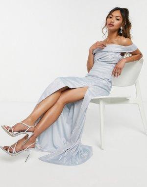 Серебристое платье макси -Серебристый Goddiva