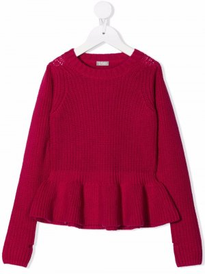 Ruffled hem virgin wool jumper Il Gufo. Цвет: розовый
