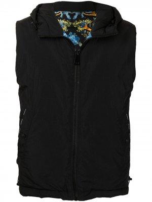 Двусторонний жилет с капюшоном Versace Jeans Couture. Цвет: черный