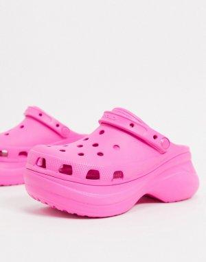 Розовые клоги на платформе -Розовый Crocs