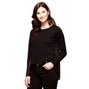 Пуловер с круглым вырезом из тонкого трикотажа YUMI. Цвет: черный