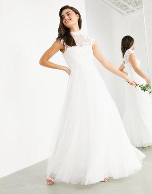 Свадебное платье с вышивкой на лифе и короткими рукавами Bronte-Белый ASOS EDITION