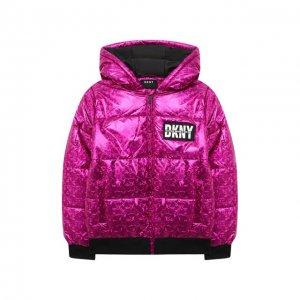 Куртка с капюшоном DKNY. Цвет: розовый