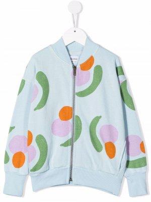 Patterned zip-up bomber jacket Bobo Choses. Цвет: синий