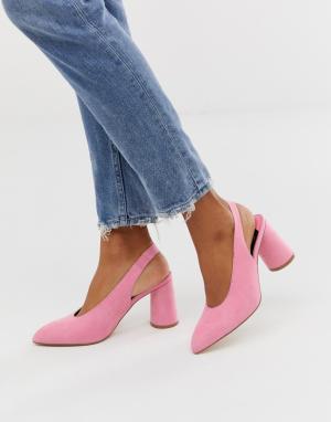 Розовые туфли на каблуке с ремешком через пятку -Розовый Faith