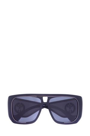 Очки с пластиковой оправой-маской и солнцезащитными шторками по бокам MOSCHINO (sunglasses). Цвет: none