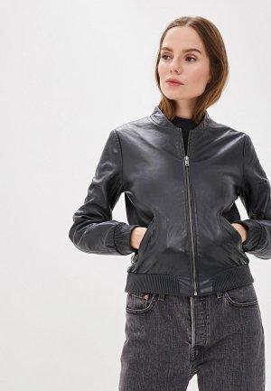 Куртка кожаная Pepe Jeans. Цвет: синий