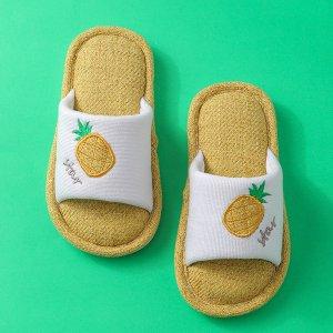 Тапочки с ананасовым узором для мальчиков SHEIN. Цвет: жёлтые