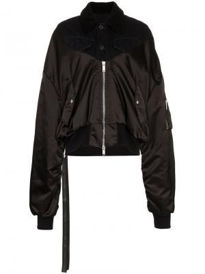 Куртка-бомбер на молнии с отделкой из овчины Unravel Project. Цвет: черный