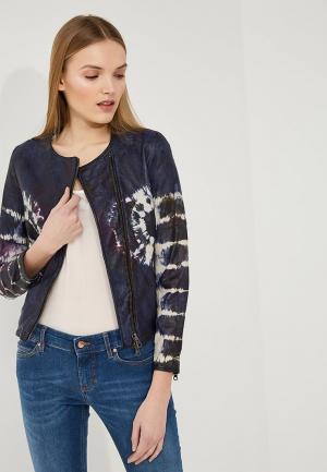 Куртка кожаная Blouson. Цвет: синий