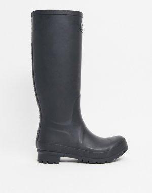 Резиновые сапоги черного цвета с логотипом Abbey-Черный цвет Barbour