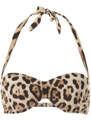 Лиф бикини с леопардовым принтом Dolce & Gabbana. Цвет: коричневый