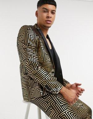 Пиджак из черного бархата с атласными лацканами и блестящим геометрическим узором золотистого цвета -Золотой Twisted Tailor