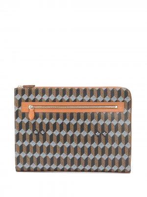 Сумка для ноутбука с геометричным принтом Audepart. Цвет: коричневый