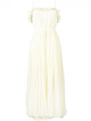 Плиссированное вечернее платье без рукавов Adam Lippes. Цвет: желтый