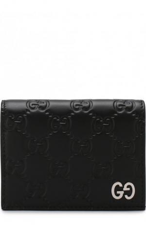 Футляр для кредитных карт с тиснением Signature Gucci. Цвет: черный