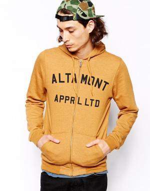 Худи на молнии с логотипом Altamont. Цвет: желтый