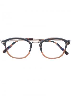 Очки с круглой оправой Matsuda. Цвет: коричневый