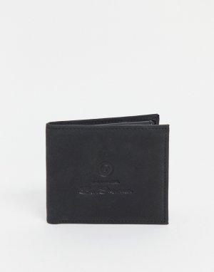 Черный складной кожаный бумажник с логотипом-надписью Ben Sherman