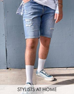 Синие джинсовые шорты скинни с рваной отделкой -Синий ASOS DESIGN