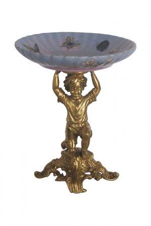 Чаша на ангеле 17x17x19см ГЛАСАР. Цвет: голубой