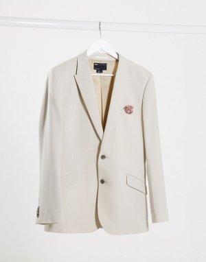 Пиджак узкого кроя с узором wedding-Neutral ASOS DESIGN