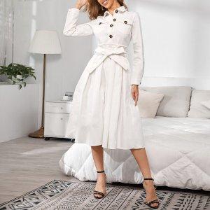 Плиссированное джинсовое платье с поясом SHEIN. Цвет: белый