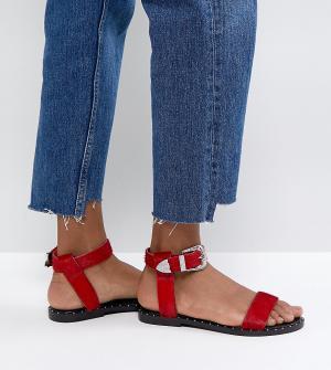 Кожаные сандалии в стиле вестерн ASOS FAZ DESIGN. Цвет: красный