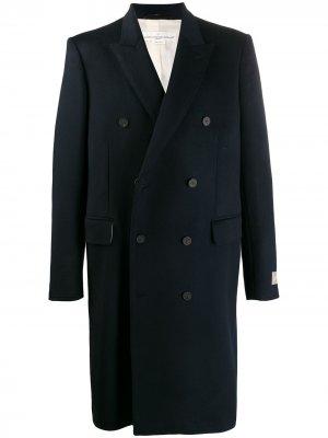 Двубортное пальто миди Golden Goose. Цвет: синий