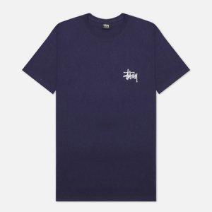 Мужская футболка SS Basic Stussy. Цвет: синий