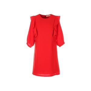 Платье короткое с воланами и рукавами 3/4 DERHY. Цвет: красный