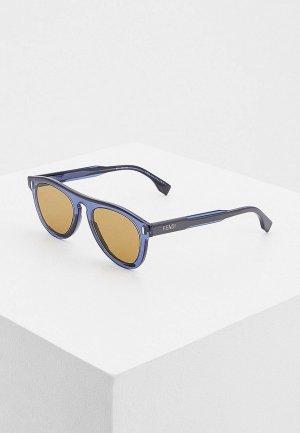 Очки солнцезащитные Fendi FF M0092/S XW0. Цвет: синий