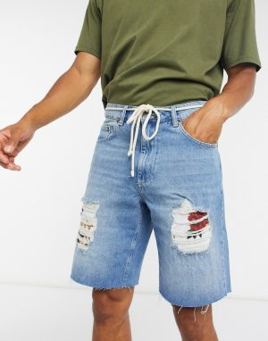 Синие свободные джинсовые шорты Siksilk-Синий SikSilk