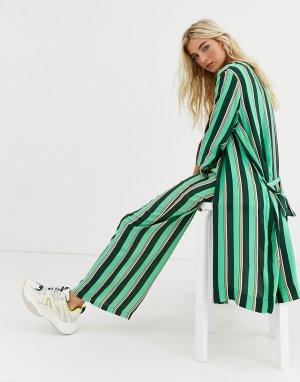 Куртка-кимоно в полоску с поясом -Мульти Kaffe