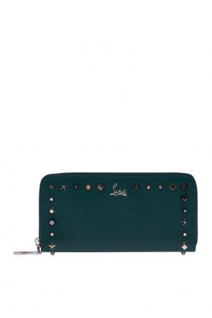 Кожаный кошелек W Panettone Christian Louboutin. Цвет: зеленый