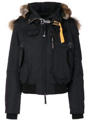 Куртка-бомбер с меховой отделкой Parajumpers. Цвет: синий